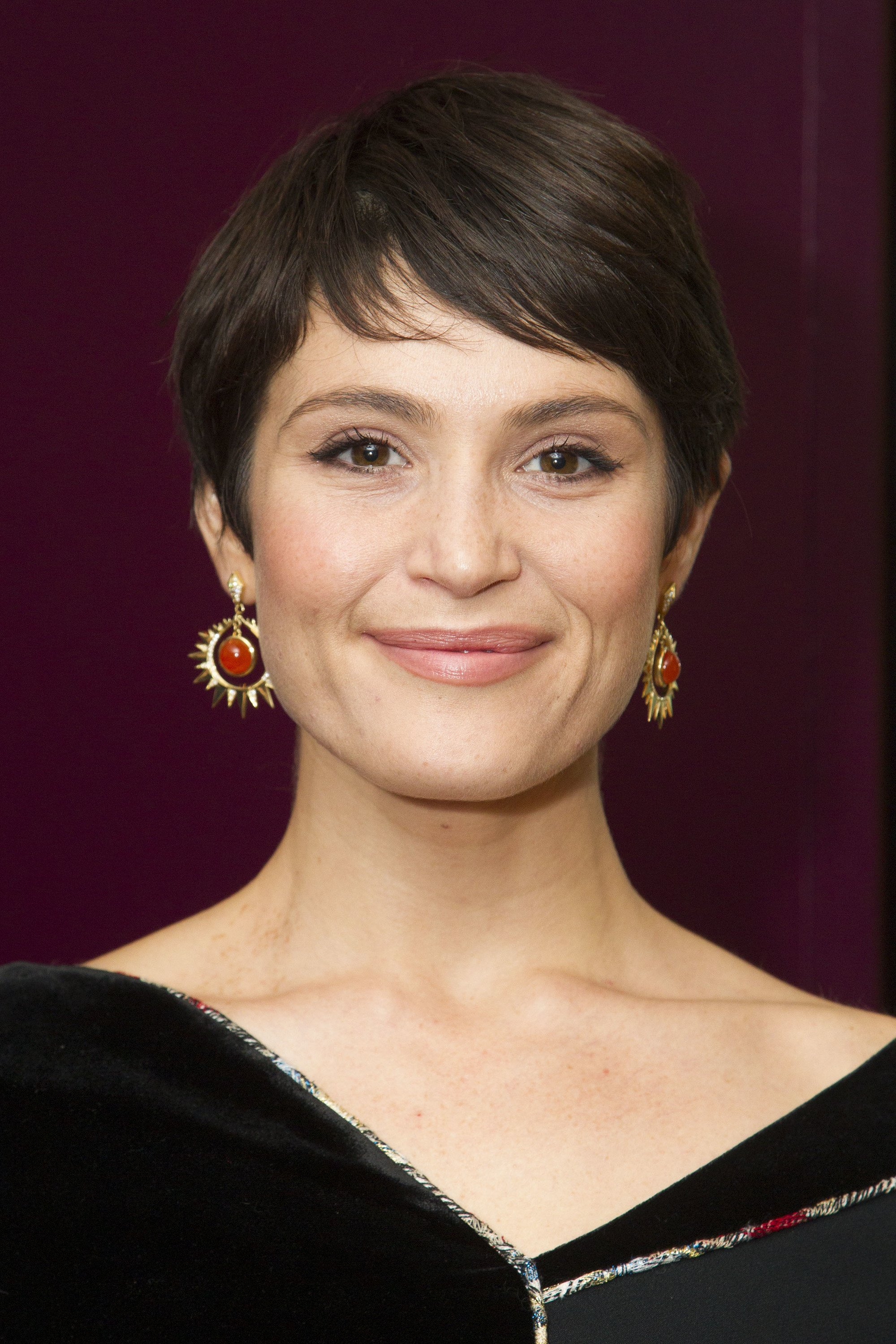 gemma arterton medium brown soft pixie cut