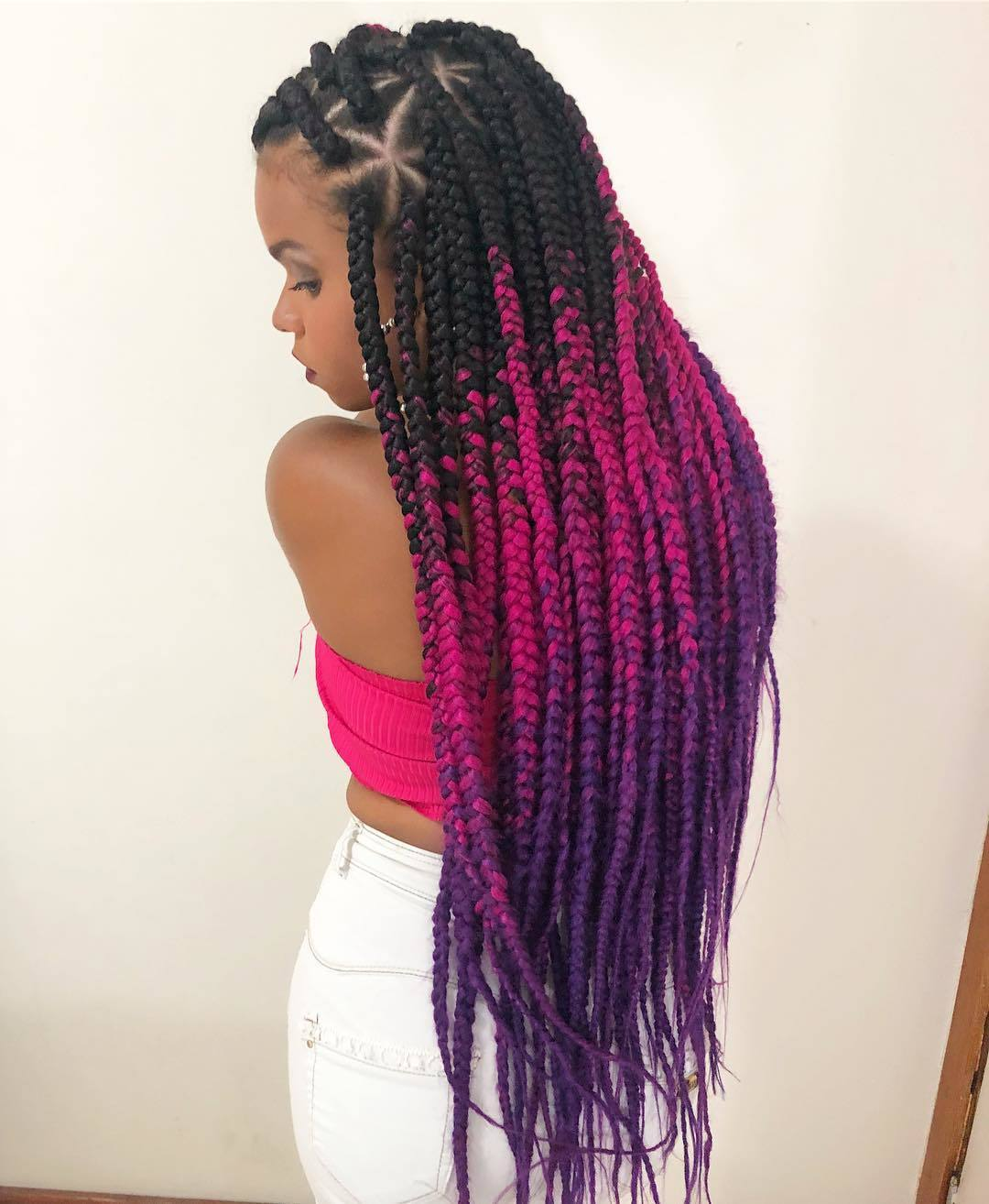 How long do box braids last girl with pink and purple braids