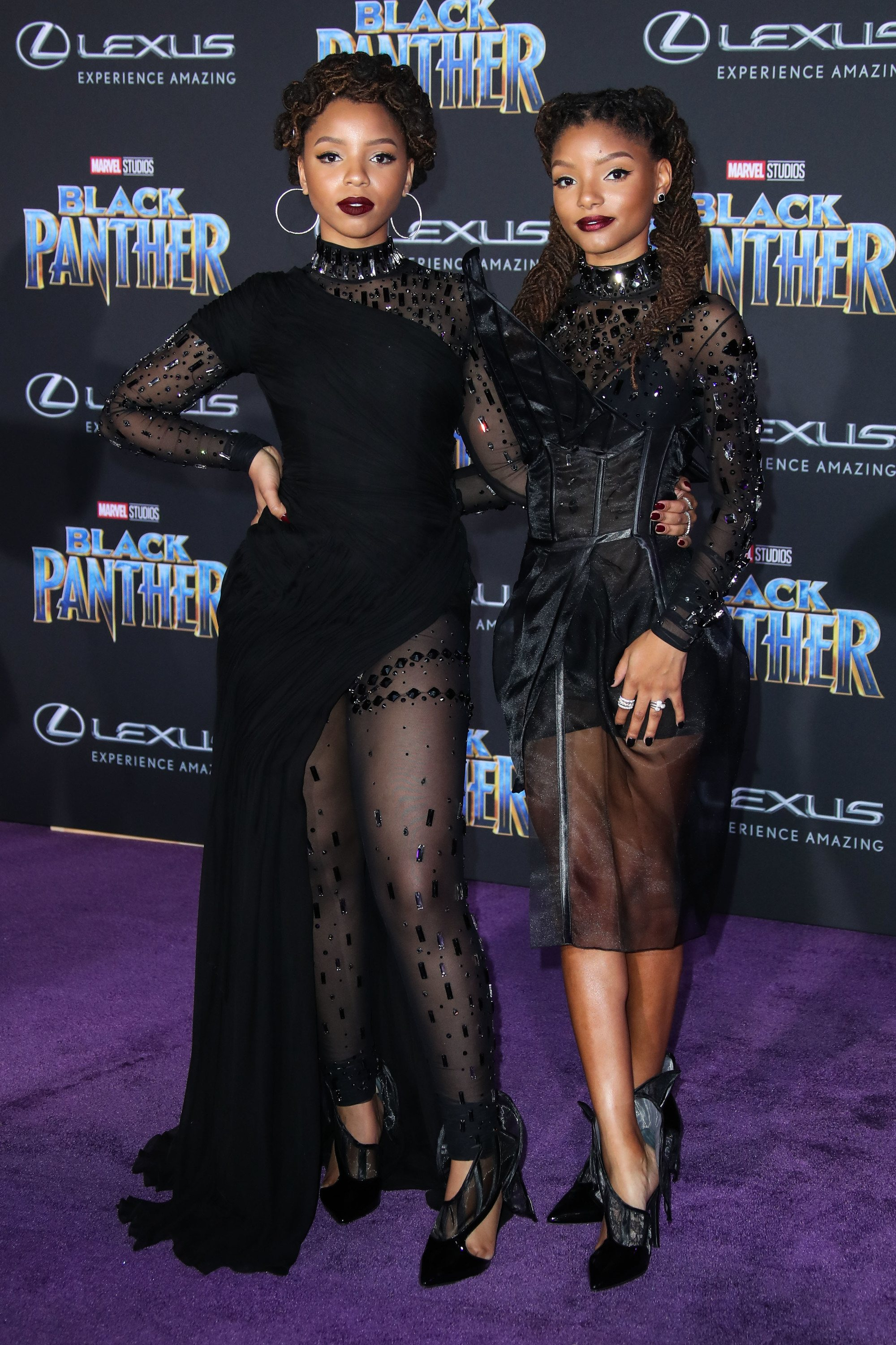 chloe-bailey-halle-bailey black panther premiere twist hairstyles