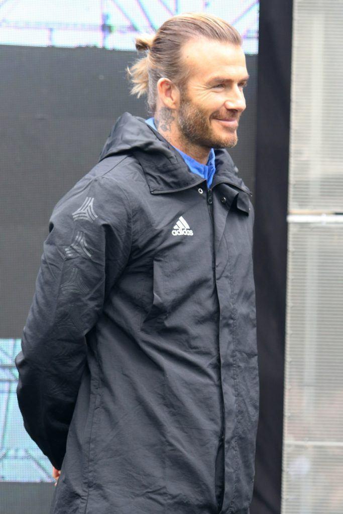 David Beckham Blonde Hair In Man Bun