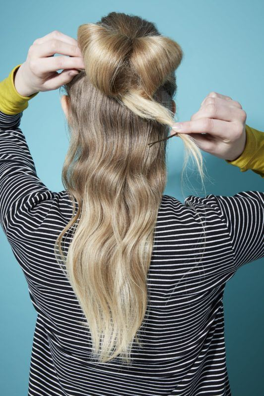 Bow hairstyle Hair bow tutorial blonde girl securing ponytail with bobby pin