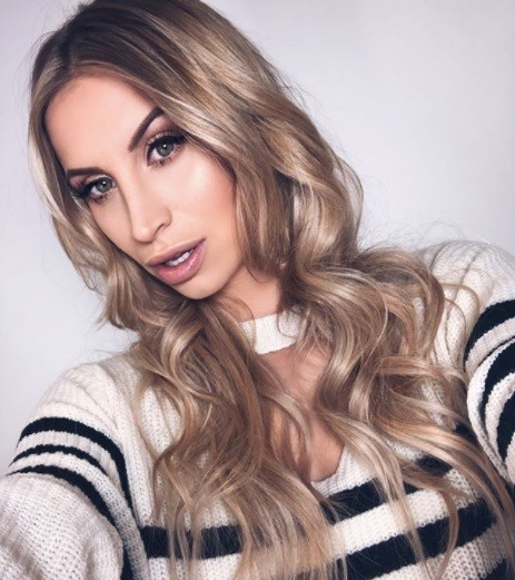 TOWIE star ferne mccann with long blonde curly hair