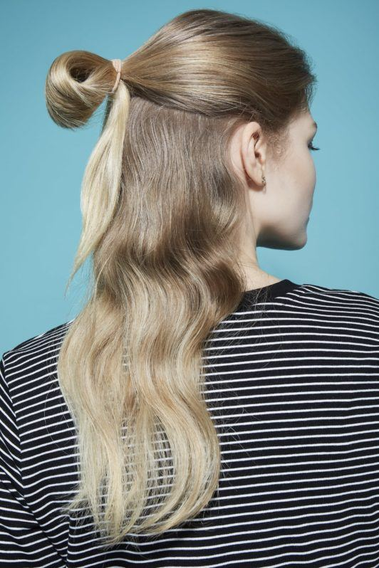 Bow hairstyle Hair bow tutorial blonde girl with half updo bun in a loop