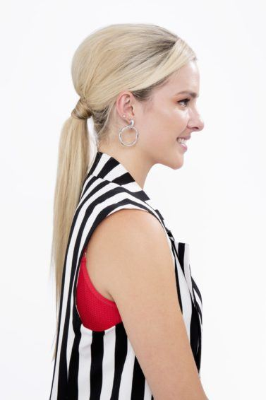 Blonde girl with hair bump side profile