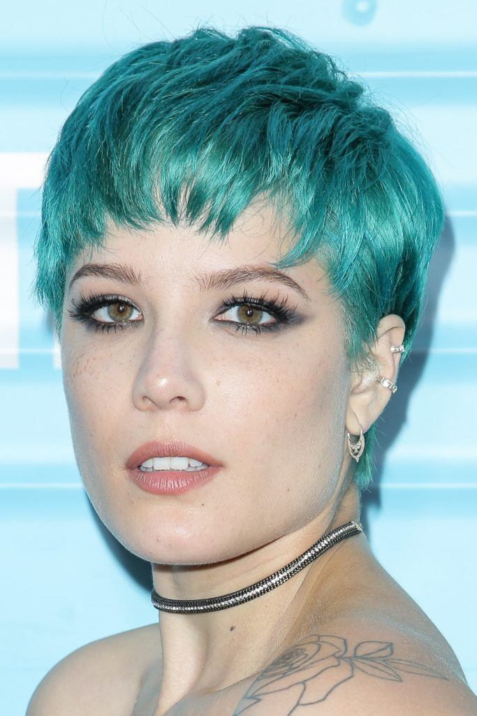 halsey blue green pixie cut