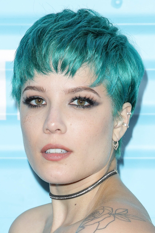 halsey blue green pixie cut
