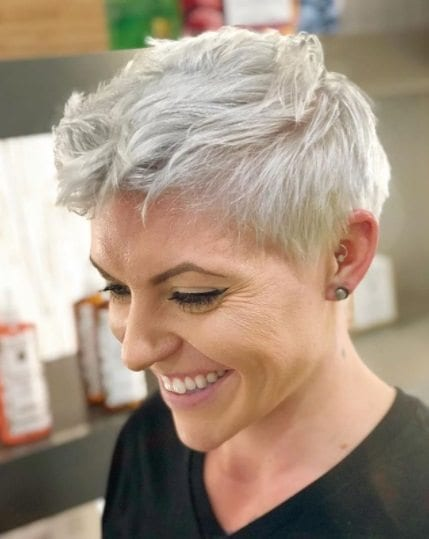 woman with a silvery white ice queen pixie cut