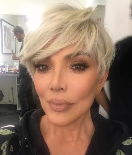 kris jenner with platinum blonde pixie cut hair