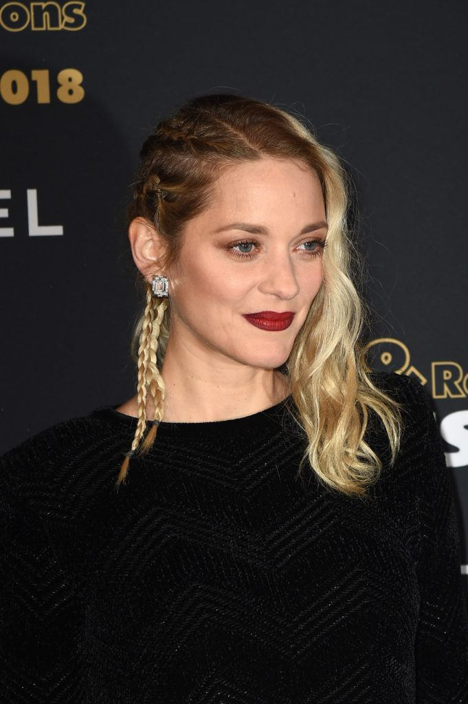 triangle face hairstyles: actress marion cotillard on the red carpet with a braided undercut
