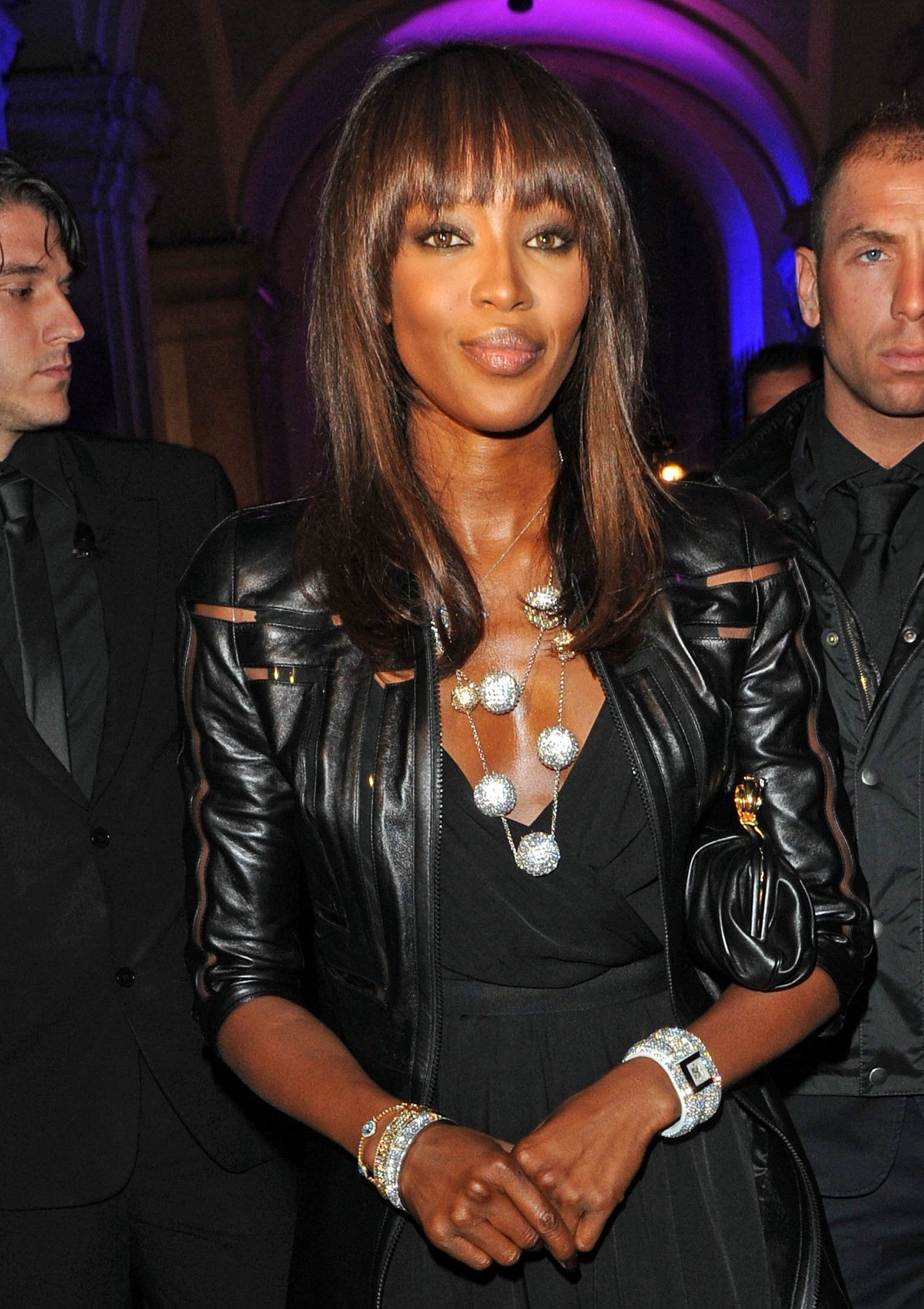 supermodel naomi campbell with a full fringe