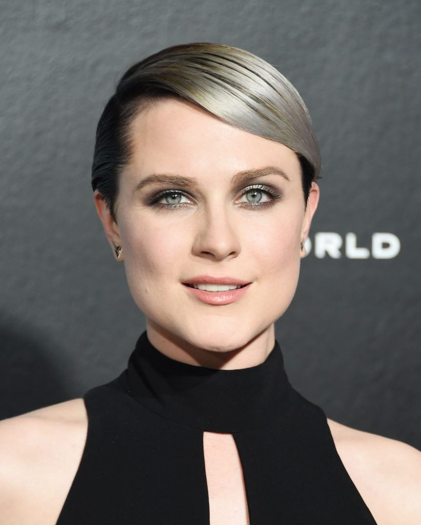 close up shot of rachel evan wood with sleek grey pixie ombre hairstyle with side-swept bangs