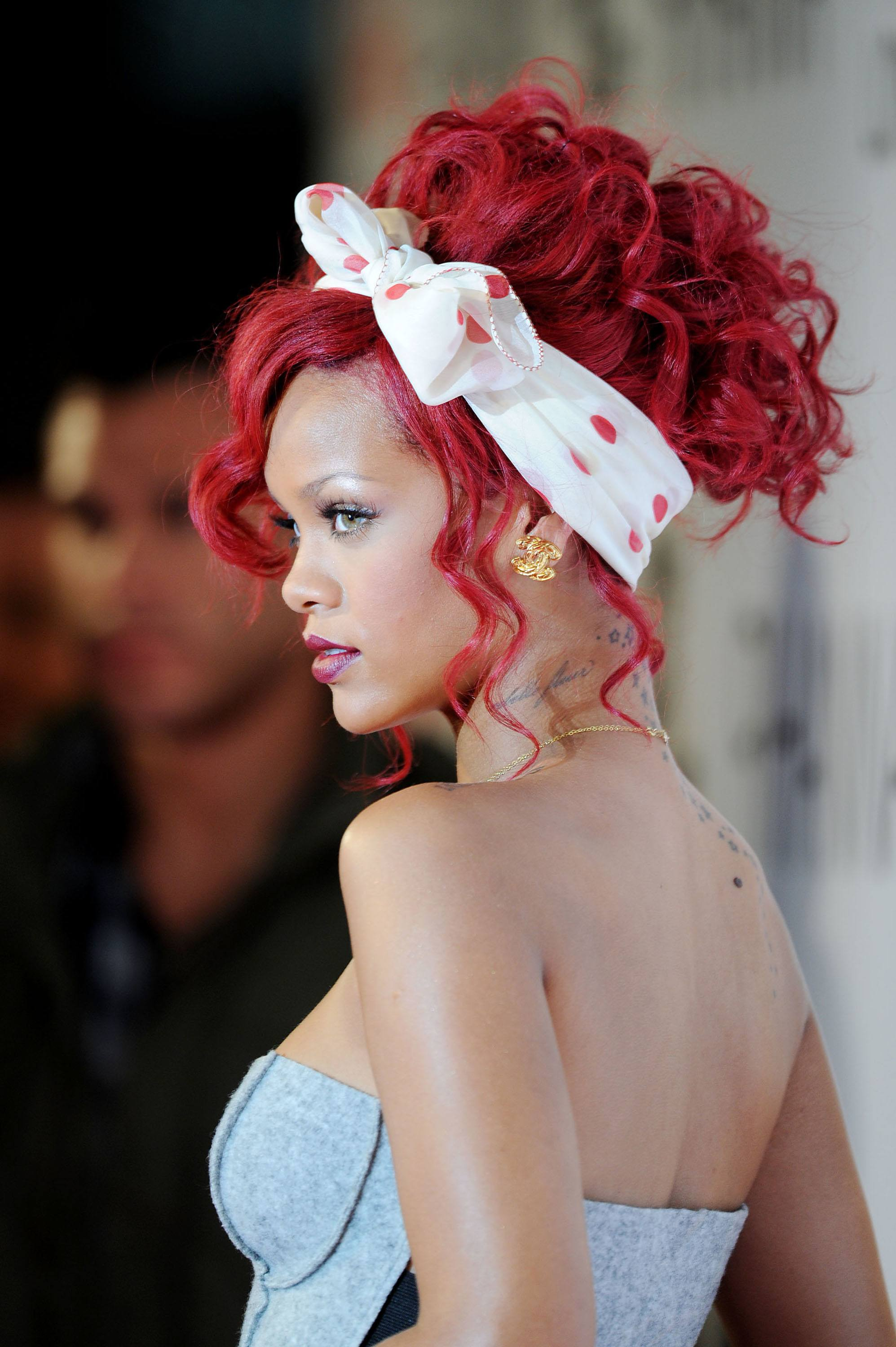 rihanna red hair in updo with bandana
