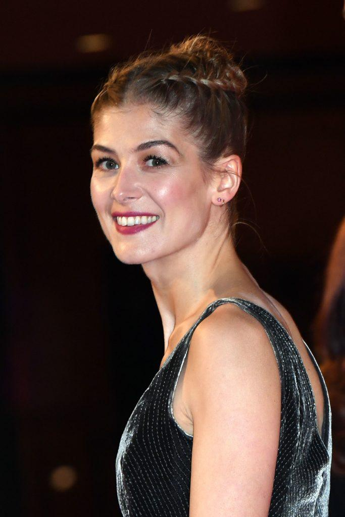 triangle face hairstyles: rosamund pike with double braided updo hair
