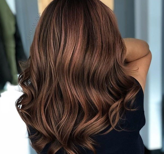 Close Up Back Shot Of Woman In A Salon With Brunette Hair That Has Rose