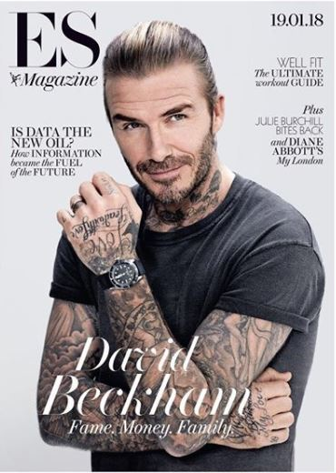 david beckham slick bar hair on cover of ES magazine
