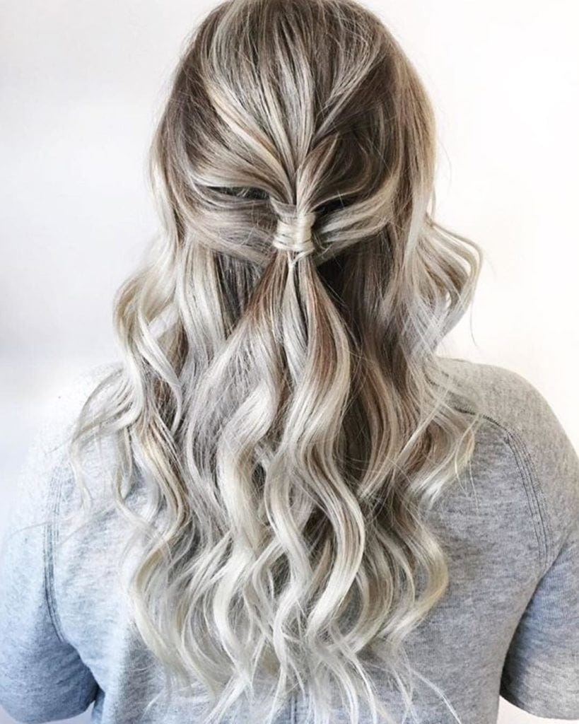 Sock curls tutorial girl with silver hair half up half down and wavy