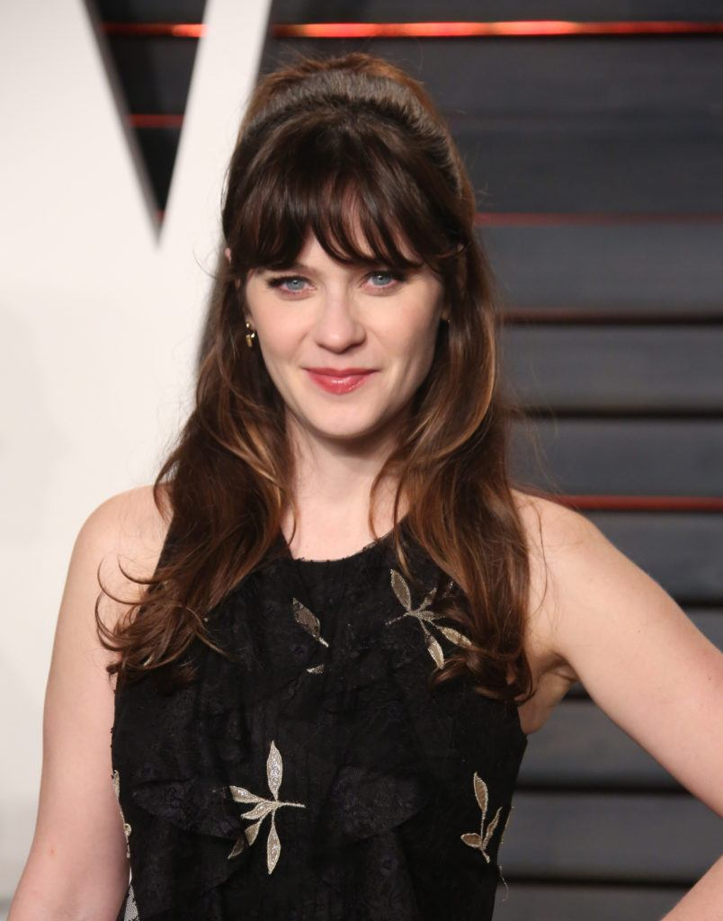 zooey deschanel long brown hair and full thick fringe