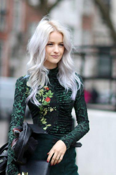 Purple conditioner for blonde hair: Blogger victoria mcgrath from in the frow with silvery blonde hair