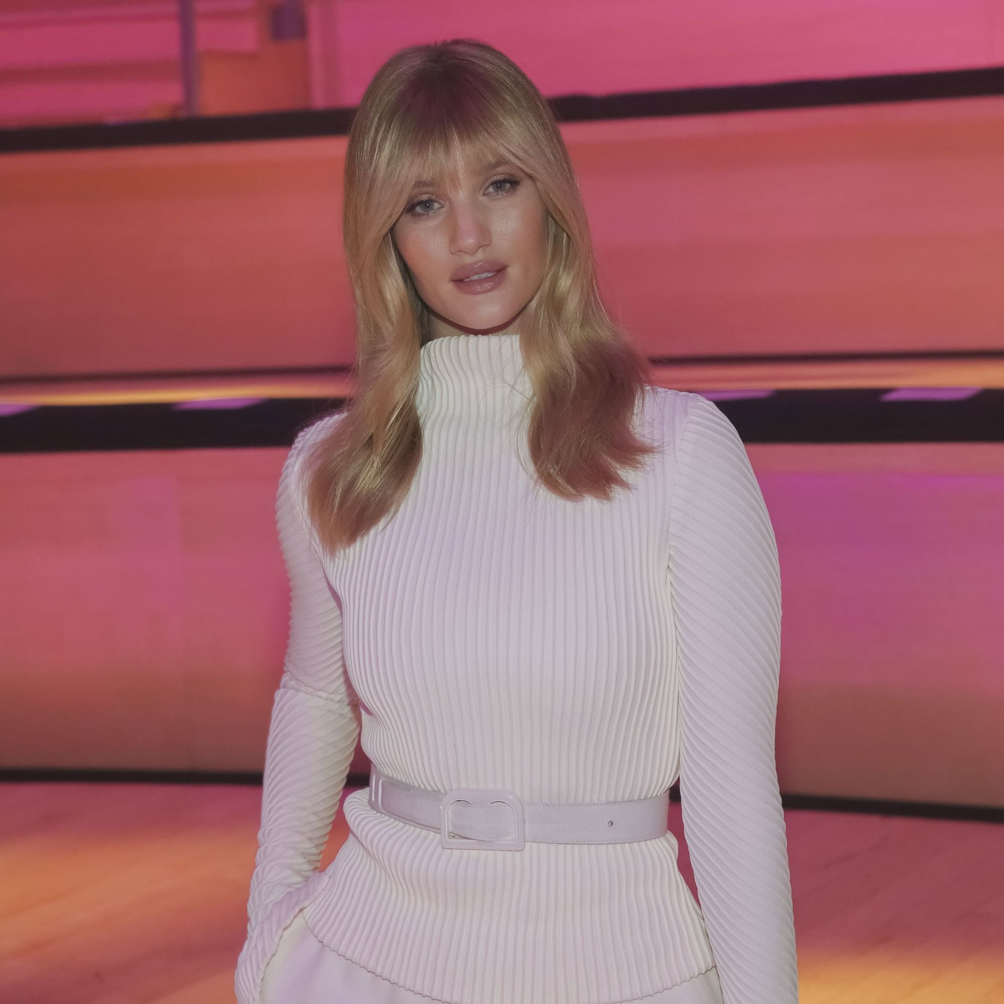 close up shot of Rosie Huntington-Whiteley with bangs and medium length hairstyle at the Brandon Maxwell Runway Show