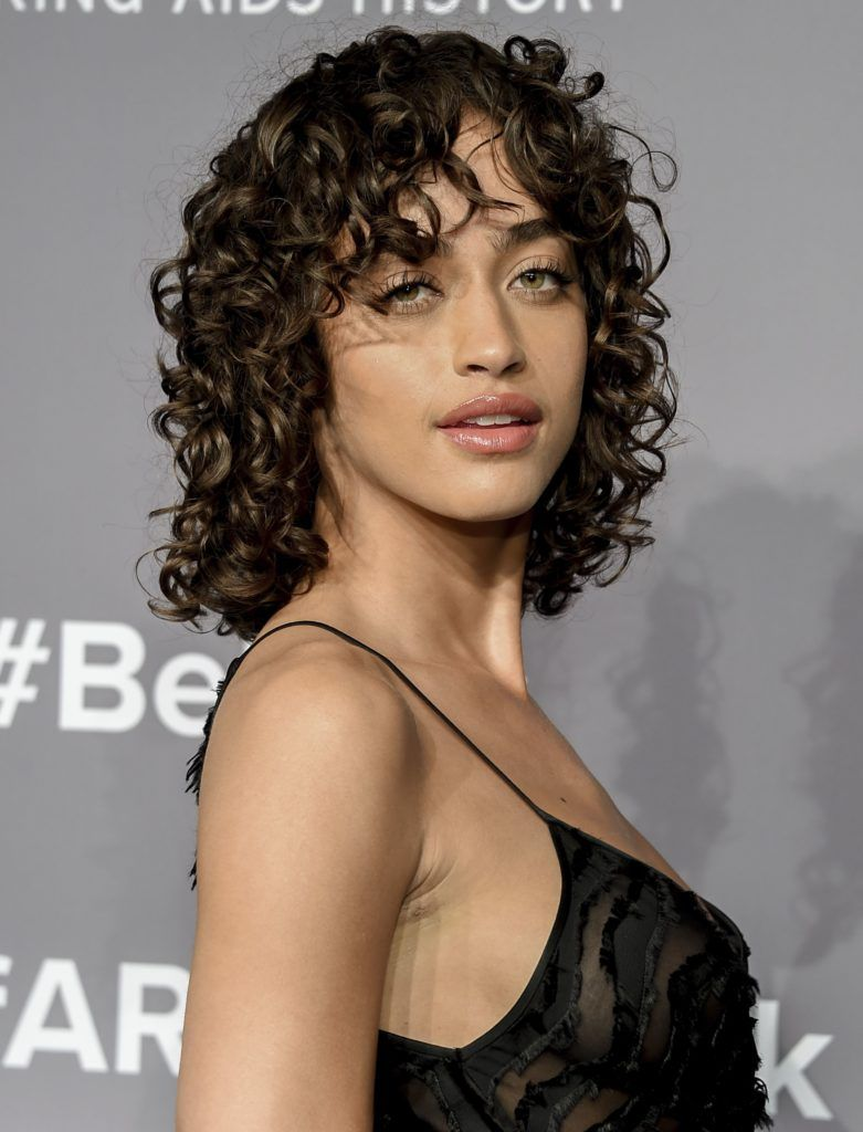 See How To Style Curly Hair And Bangs The A List Way All Things