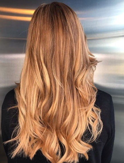Copper highlights: Back view of a woman with long strawberry blonde wavy hair with highlights