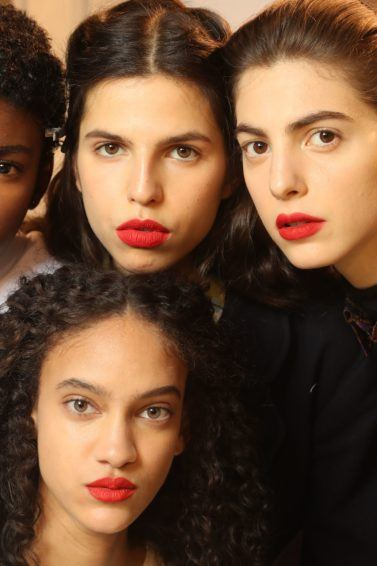 hair smoothing serum: close up shot of models with different hair types, posing backstage