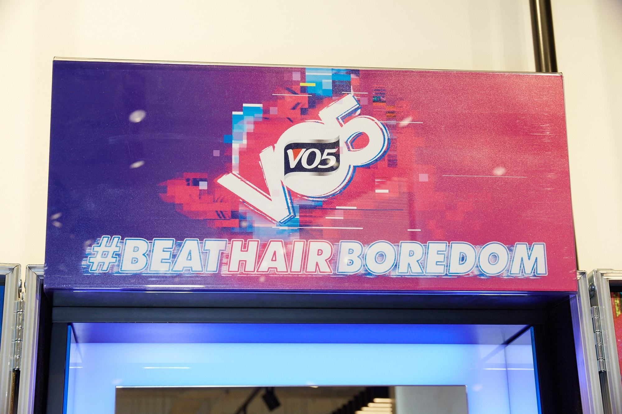 Beat hair boredom VO5 sign at New Look TCR store opening