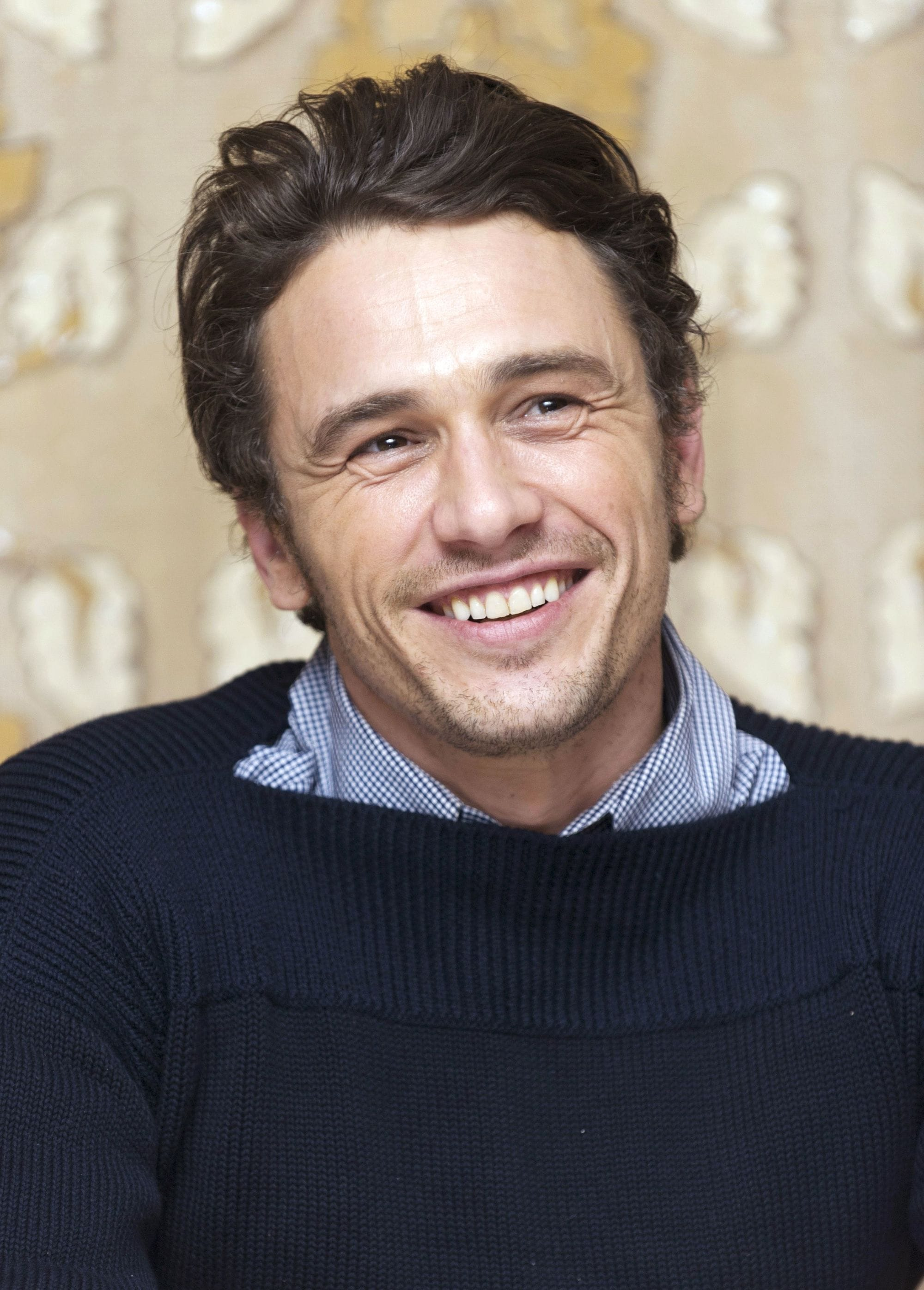 james franco thick wavy brown hair pushed back smiling