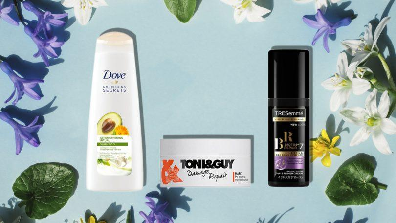 spring hair detox: close up shot of dove nourishing secrets strengthening ritual shampoo, toni & guy damage Biotin+ Repair 7 Primer Cream