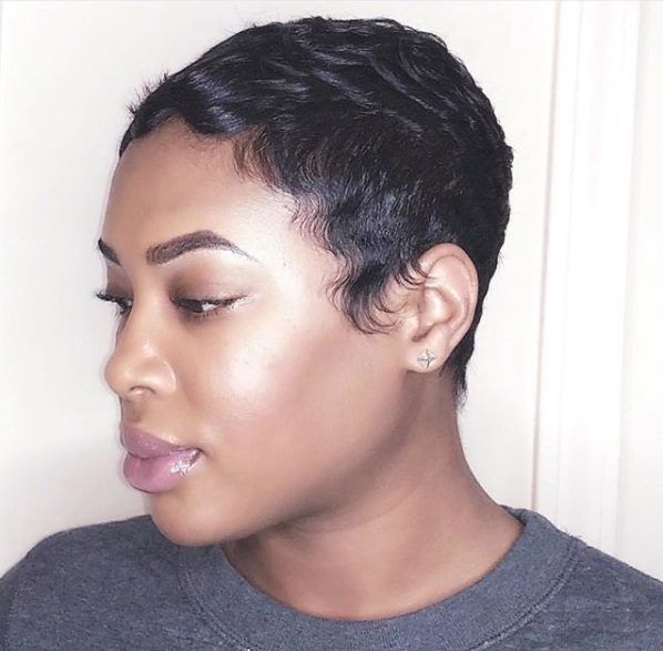 close up shot of a woman with a textured relaxed pixie cut