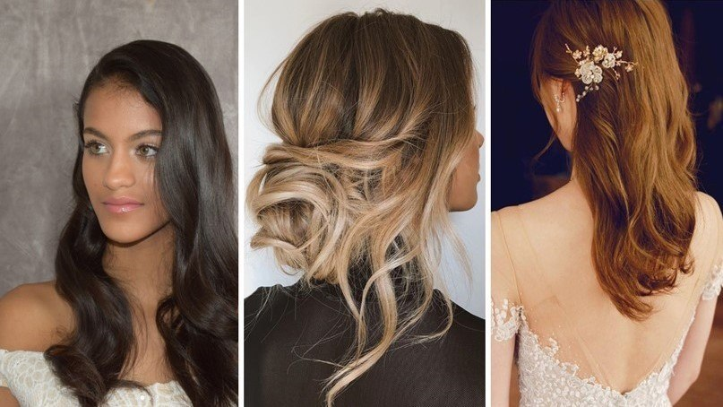 collage of 3 different bridal hairstyles; side swept soft waves, a messy bun and a hair comb style