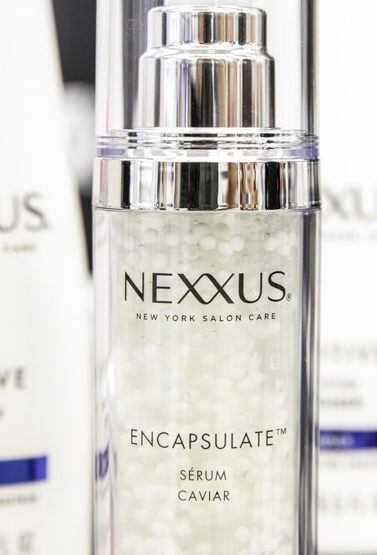 protein treatment for hair guide: close up product shot of Nexxus products, including a serum, shampoo and conditioner