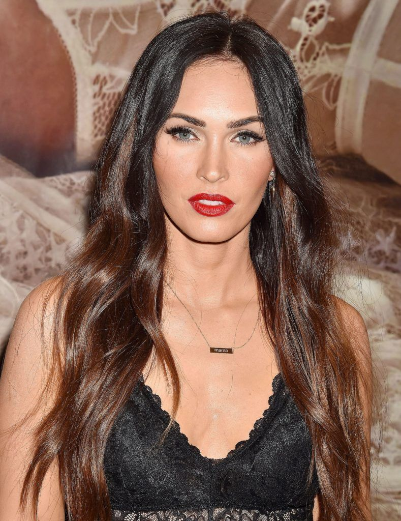 Lowlights for brown hair: megan fox with long black brunette hair with chocolate lowlights