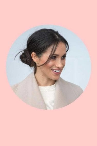Meghan Markle Royal Wedding hair: pink background collage of meghan markle with her hair in a bun and a lookalike model dressed as a bride with a similar bun hairstyle