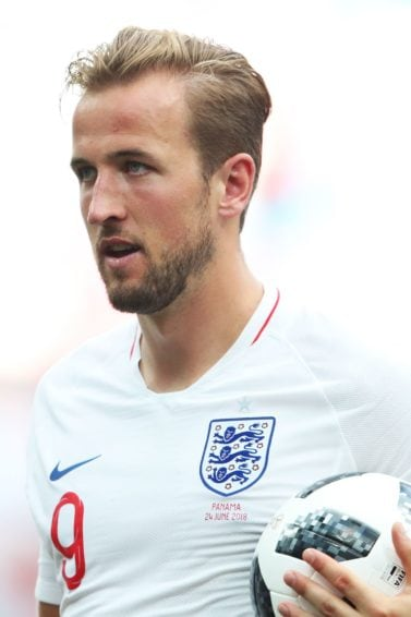footballer hairstyles: harry kane blonde hair in side parting sweapt back at england v panama match