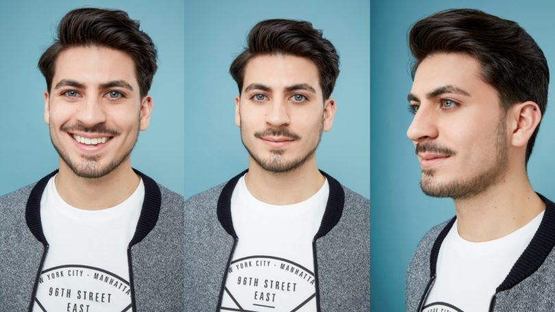 How to blow dry men's hair : Three photos of a brown haired man with blow dried hair