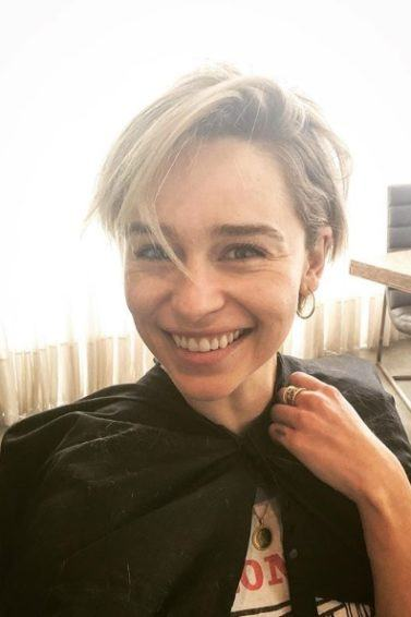 Selfie of Emilia Clarke with a new blonde pixie cut hairstyle