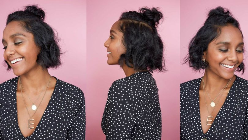 How to braid short hair: Collage of three photos of All Things Hair Global Senior Producer Elise with a half-up Dutch braided bun on her short wavy bob hair