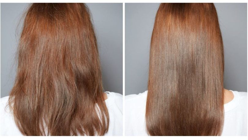 rear image of the after treatment long red hair