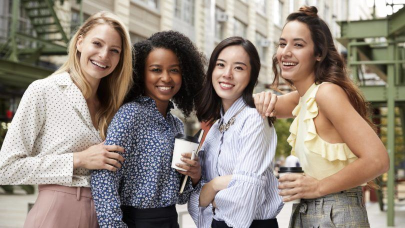 TRESemmé #PowerYourPresence: Shot of a group of women, posing together in a street style shot