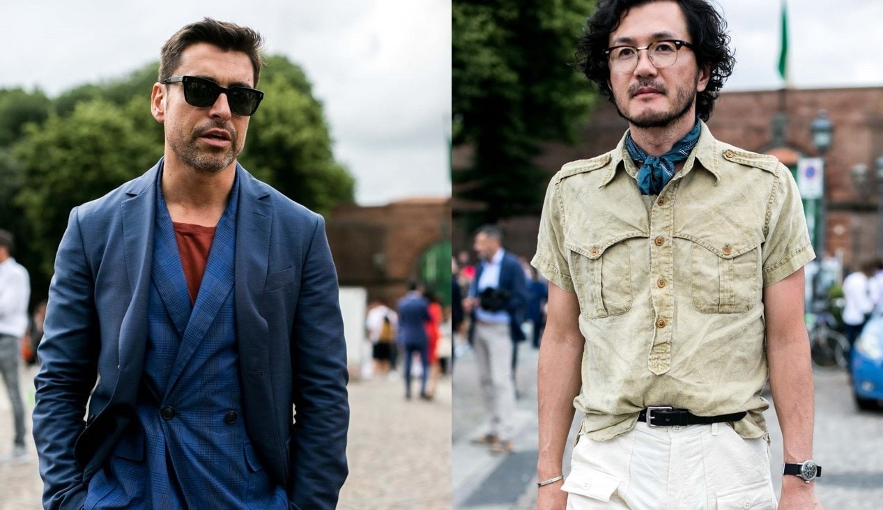 Beard styles: Street style shot of two men with stubbly, barely there beards,