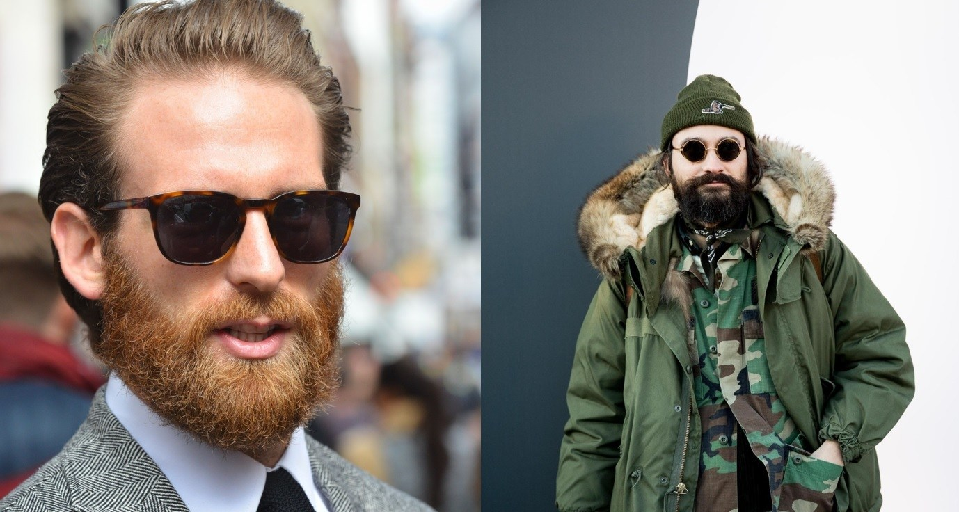 Beard styles: Street style of two men with rugged full beards with moustaches