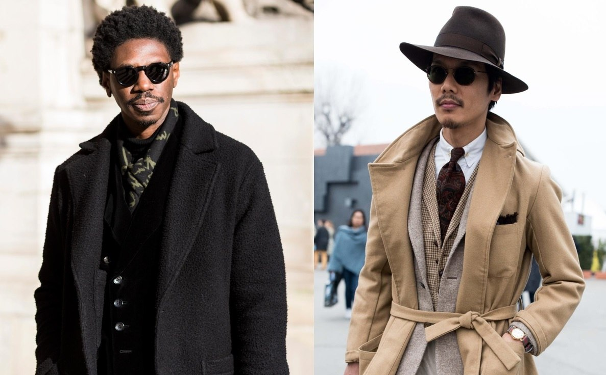 Beard styles: Street style shot of two men with different types of goatee beards, one wearing a hat, both wearing sunglasses outside