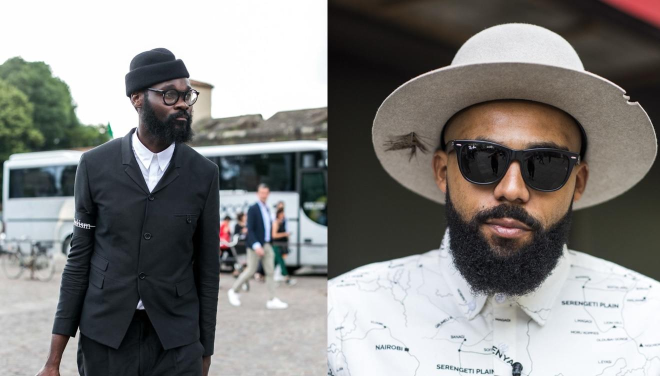 Hipster beard styles: Two guys with hipster beards, wearing glasses and posing outside