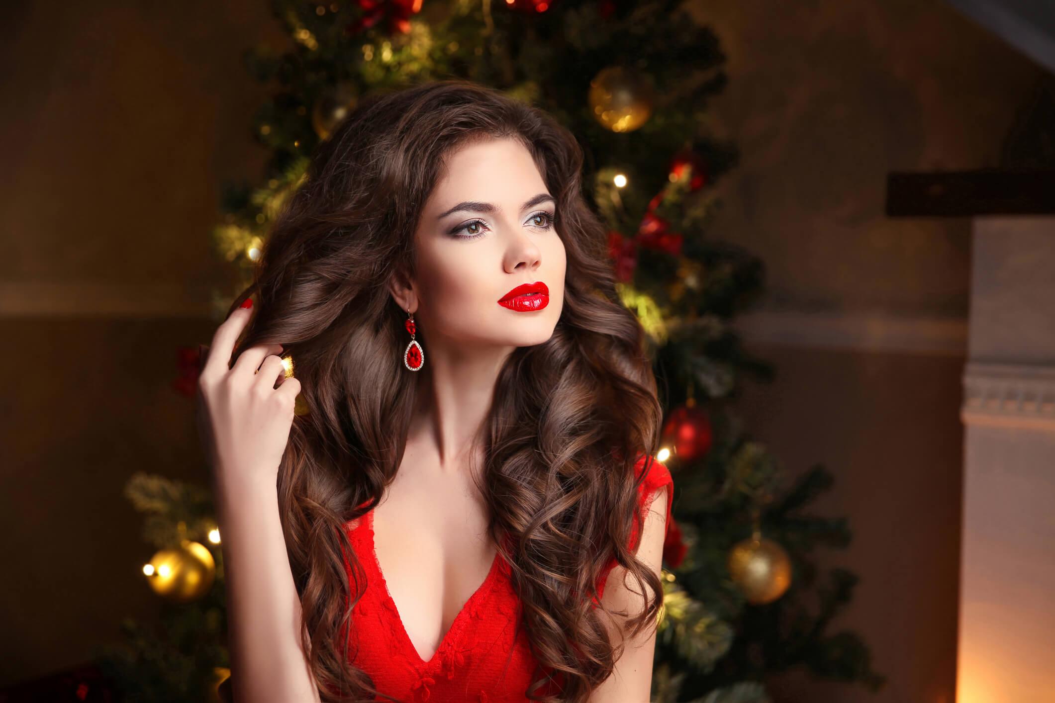 rizos gruesos peinados para navidad