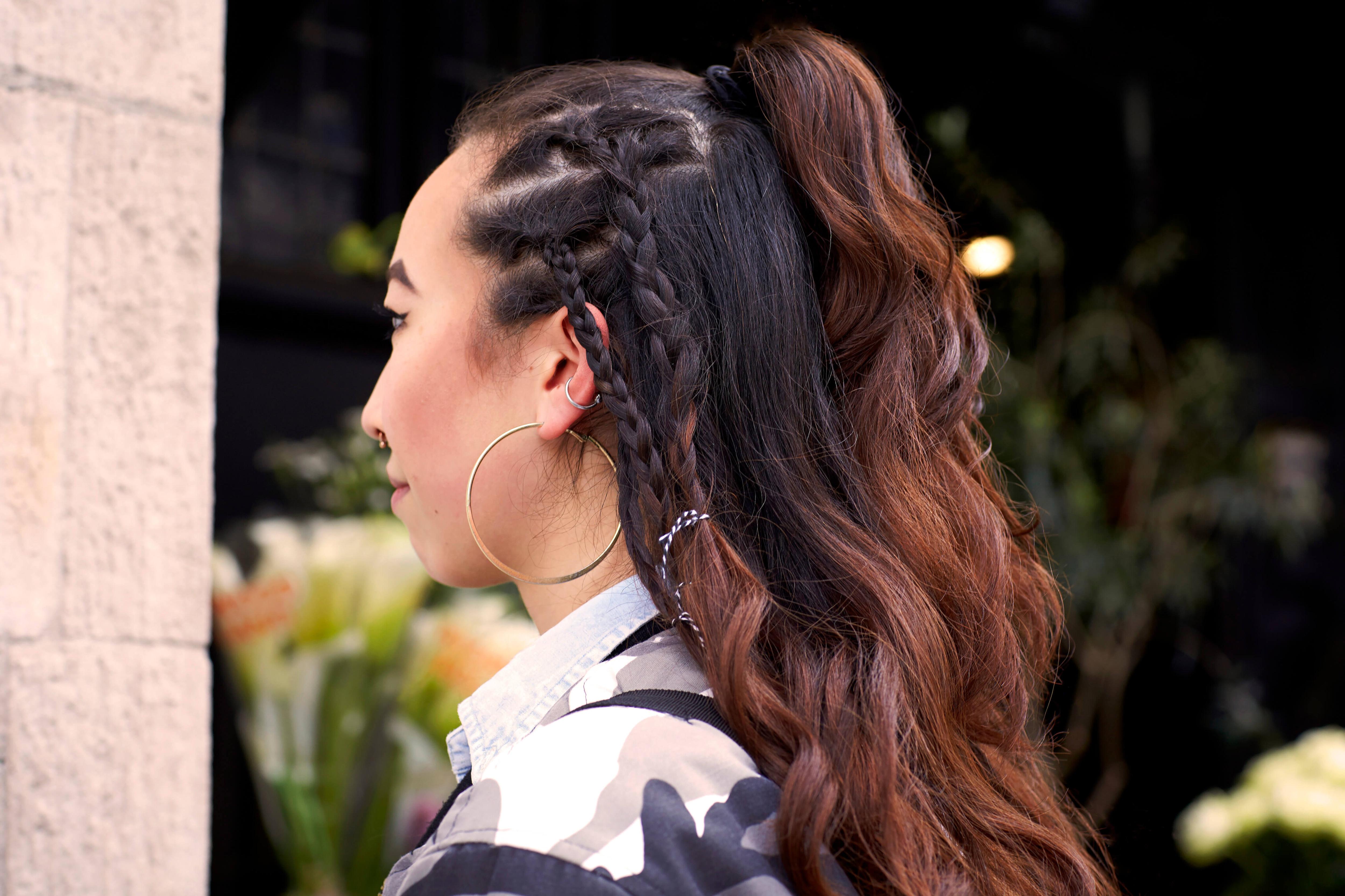 peinados medio recogidos cola con trenzas indígenas