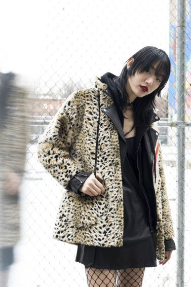 Street Day3 New York Fall 2017 asian model with black hair and full bangs