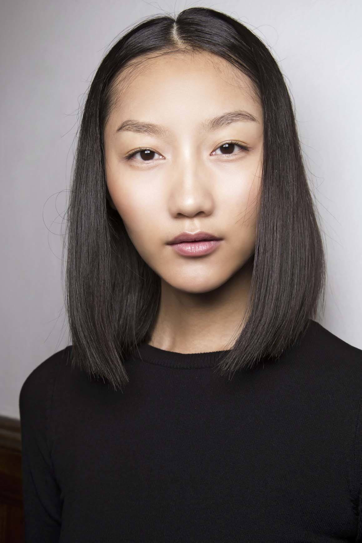 asian model with heart shaped face with a straight blunt cut