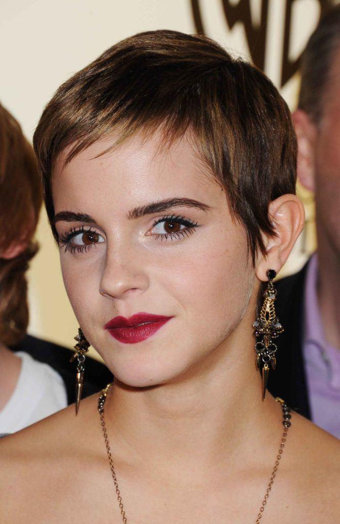Emma Watson wearing a pixie cut hairstyle