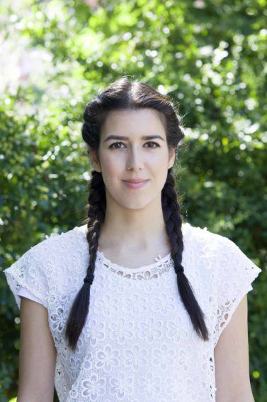 girl with double braided hairstyle for long straight hair